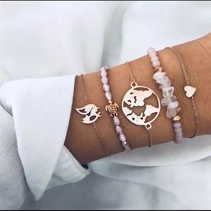 Jewelry - Gemstone & Rose Gold Bracelet Set